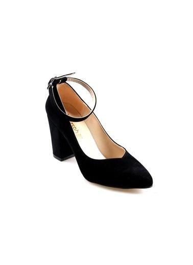 Gizsah 8,5 Cm Topuk Bayan Siyah Süet Stiletto Ayakkabı Siyah